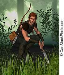 Forest Hunter in Woodland - Forest hunter with bow and...
