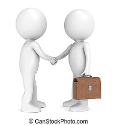 Deal done - 3D little human character X 2 shaking hands One...