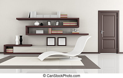 modern living room - beige and brown elegant minimalist...