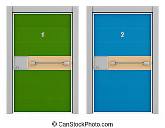 green and blue armored door