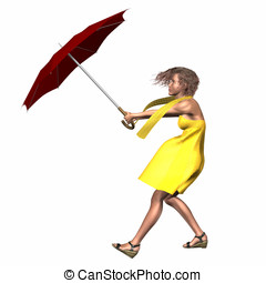 Woman Umbrella Wind - Woman wearing yellow dress and scarf...