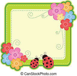 ladybug frame - frame with ladybugs and flowers