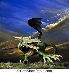 Fantasy Dragon Landscape - Winged Dragon in action showing...