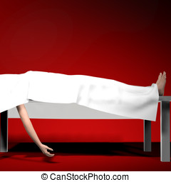 Corpse under white sheet on autopsy table Feet and one arm...