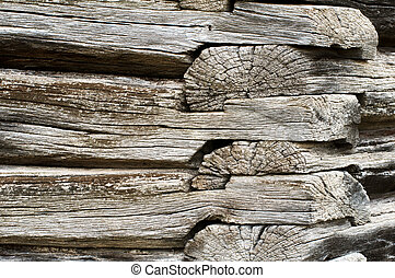 Detail of an old pioneer era log cabin