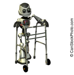 Senior Citizen Robot - Elderly Robot using a medical walker...