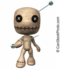 Voodoo Doll with pins - Voodoo HooDoo doll with button eyes...