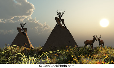 North American Indian - Two North American Indian Tepees in...