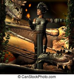 mulher, Dragões