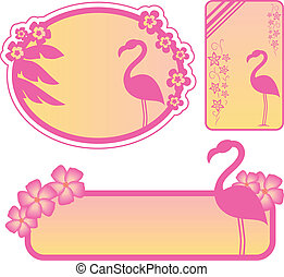 flamingo labels - set of labels with flamingos and tropical...