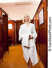 Woman in Old Style Bath House Spa