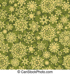 Green christmas pattern with snowflakes EPS 8 vector file...