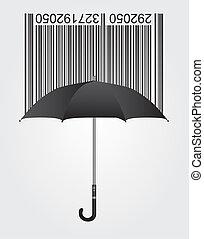 bar code and umbrella - black bar code and umbrella over...