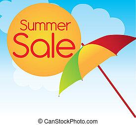 summer sale - colors umbrella with sun summer sale over sky...