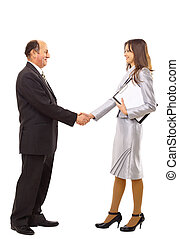 young man shaking hands with a woman against white...