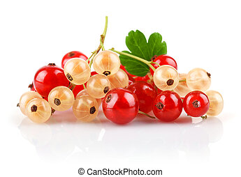 currant berries with green leaf