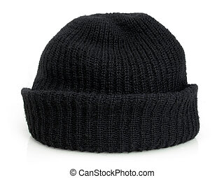 Bob's black knit cap - Plain black knit cap isolated on a...