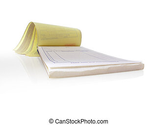 Receipt Pad - Receipt pad, Isolated and open to a blank page