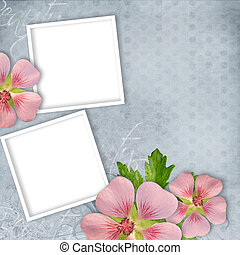 Card for invitation or congratulation with pink flowers