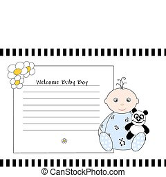 Welcome Baby Boy - baby with teddy