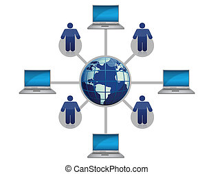 Global Computer Network blue