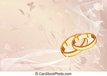 Wedding rings pastel background