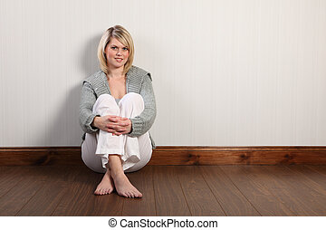 Happy beautiful blonde woman in knitted cardigan - Beautiful...