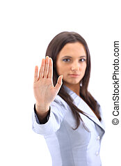 Anger woman signaling stop sign , isolated on white...