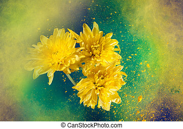 Paint big bang and flowers - golden-daisy flowers and...