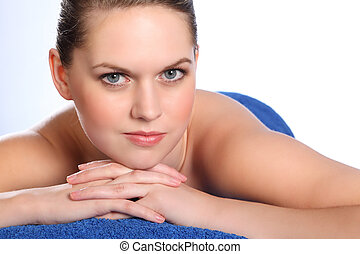Woman in health spa for beauty pamper treatment - Beautiful...