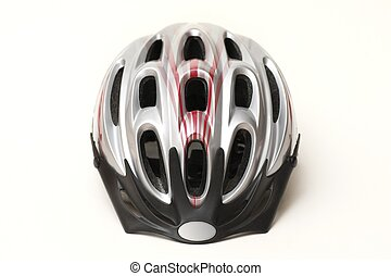 Bike helmet - Close up of silver plastic unisexs bicycle...