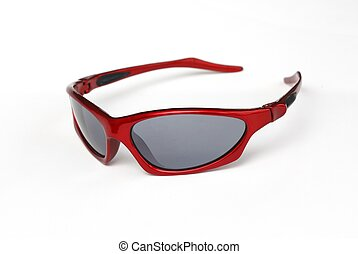 Red sporty sunglasses - Close up of red sporty unisex shades...