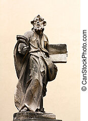 Stone sculpture - Stone ancient sculpture of a saint apostol...
