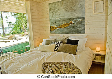 Twin bed in the summer cottage in Finland
