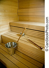 Finland sauna - Traditional Interior of a modern Finnish...