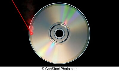 CD DVD burning - Rotating CD DVD burning animation with...