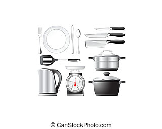 Kitchenware set - Kitchenware pots, knives, and other...