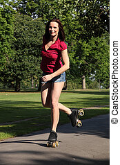 Good fun for long legged girl roller skating