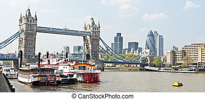 thames in london - panoramic cityscape down the thames...