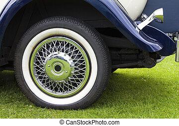 Rear wheel of classic car