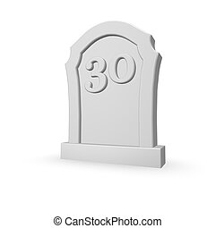 thirty - gravestone with number thirty on white background -...