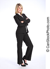 Smiling young blonde woman in business suit - Confident and...