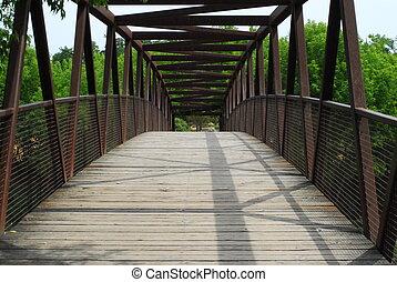 Bridge in park - Arcing wood and metal frame bridge in park.