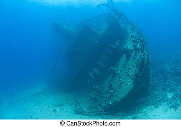 Large stern section of an underwater shipwreck