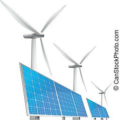 solar cells and wind generator - illustration of panels with...