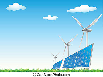 renewable energy sources - illustration of panels with solar...