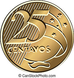 Vector Brazilian centavo coin twenty-five - Brazilian money,...
