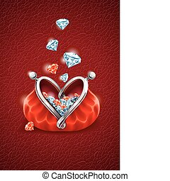 diamond falling into purse with heart