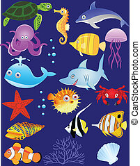 Sea life cartoon