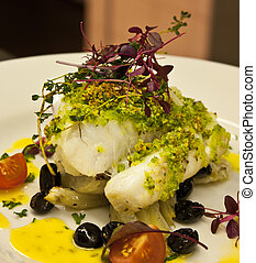 cod on the plate - cooking cod with black olives ,small...